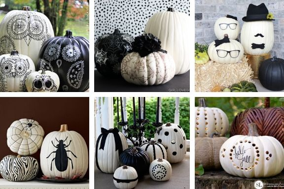 Painted Pumpkins Black and White