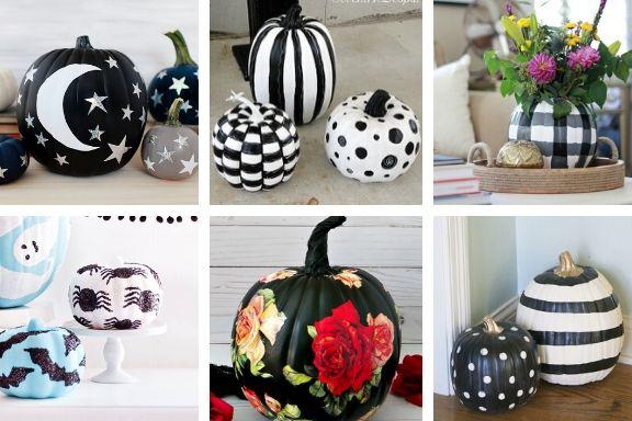 Black and White Pumpkin Decorating Ideas