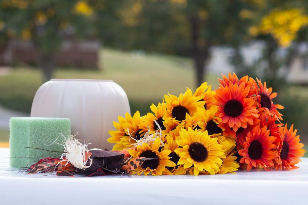 plastic pumpkin bucket makeover supplies